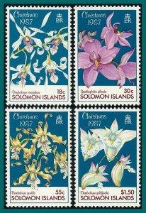 Solomon Islands 1987 Christmas, Orchids 1, MNH #598-601,SG602-SG605