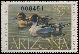 ARIZONA #1 1987 STATE DUCK STAMP PINTAILS by Daniel Smith