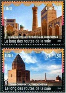 HERRICKSTAMP NEW ISSUES U.N. GENEVA Sc.# 638-39 World Heritage 2017 Silk Road