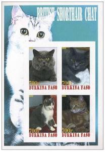 BURKINA FASO SHEET IMPERF CINDERELLA CATS