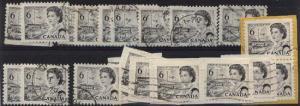 Canada USC #460ii Used (20) Cat. $70. 6c Black Hibrite Inc. Some on Piece F-VF