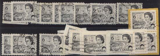 Canada USC #460ii Used (20) Cat. $70. 6c Black Hibrite Inc. Some on Piece F-VF