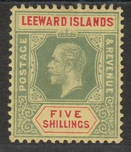 LEEWARD ISLANDS 1912 KGV 5/- DIE I WMK MULTI CROWN CA