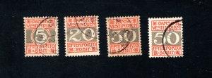 Danish West Indies #J5-J8,  F/VF,  Used, CV $64.75 ....1630052