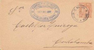 Bolivia 10c Coat of Arms Envelope 1897 Correos de Bolivia, Sucre to Cochabamb...