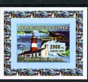 Guinea 2007 MARINE LIFE DOLPHIN & LIGHTHOUSE Deluxe s/s Mint (NH)