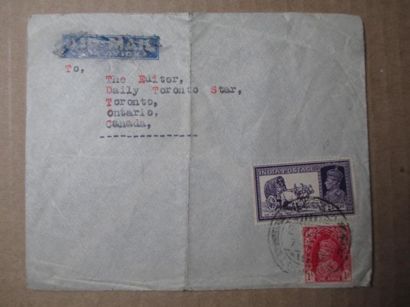 Circa 1940 India To Canada Airmail Cover (ZZ36)