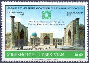 Uzbekistan. 1992. five. Architecture. MNH.