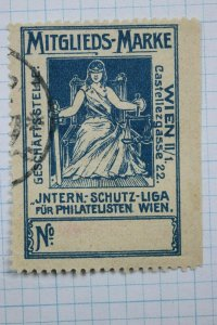 Philatelic Member Protection league like ASDA? German WIEN Poster stamp ad Label