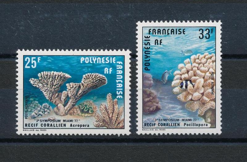 [48831] French Polynesia 1977 Marine life Corals Fish Airmail stamps MNH