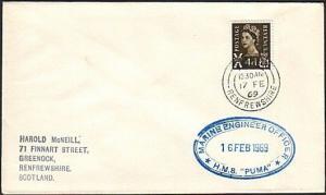 GB SCOTLAND 1969 cover HMS PUMA navy ship cachet - Greenock cds............13763