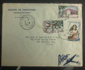 1961 Papeete Tahiti French Polynesia Bank Of Indochina Cover To Los Angeles USA