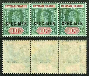 Cayman Is SG52bs 10/- STRIP of THREE Opt SPECIMEN (small part gum)