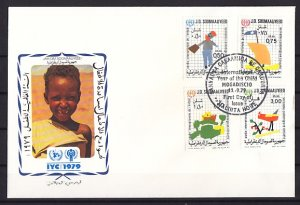 Somalia, Scott cat. 471-474. Year of the Child issue. First day cover. ^