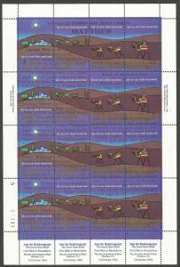 MARSHALL ISLANDS 58E MNH, SS OF 16 STAMPS, CHRISTMAS 1984