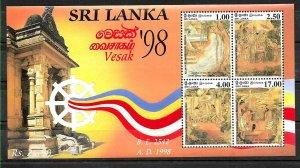 #7907 SRI LANKA(CEYLAN) 1998,ART RELIGION VESAK FESTIVAL S/SHEET YV BL67