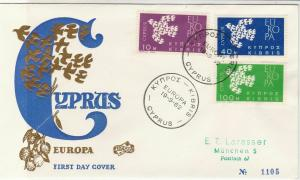 Europa Cyprus 1962 Cyprus Cancels Flock of Gold Birds FDC Stamps Cover Ref 25965
