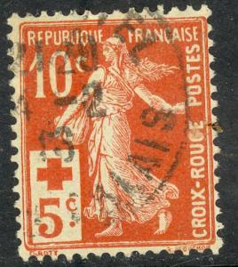 FRANCE 1914 10c +5c RED CROSS Semi Postal Sc B2 VFU