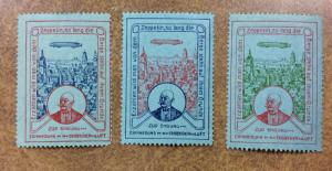 Germany, ZEPPELIN Cinderella Poster Stamps lot of3 different colors bluish paper