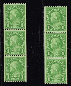 US STAMP # 604 – 1924 1c Franklin, yellow green, coil MNH STRIP OF 3