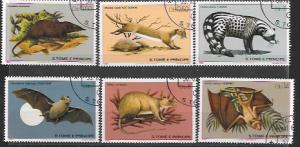 St Thomas and Prince # 598 - 603 bats, rats, etc.  Issued 1981