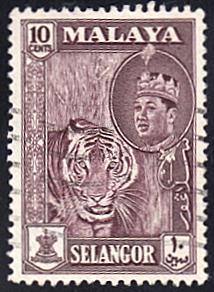 Malaya - Selangor # 119 used ~ 10¢ Tiger