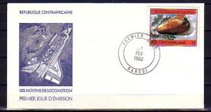 Central Africa, Scott cat. 510 only. Airship value. First Day Cover.