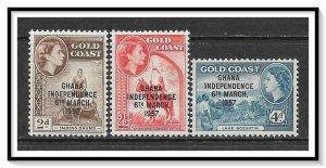 Ghana #25-27 Overprinted Independence Set MNH
