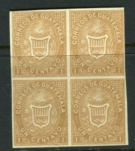 GUATEMALA; 1860s Scarce early classic issue fine IMPERF MINT BLOCK of 1c. value