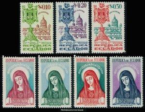 Ecuador Scott 555-557, C227-C230 Mint never hinged.