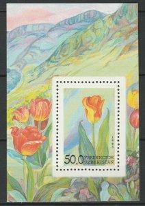 Uzbekistan 1993 Flowers MNH Block