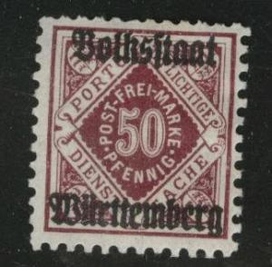 Germany State Wurttemberg Scott o52 MH* 1919 official CV$4.7