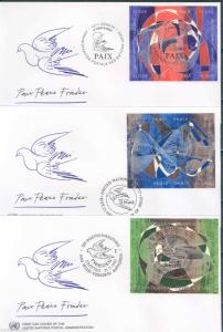 UNITED NATIONS SET OF THREE 1993 PEACE  FDCs ON OFFICIAL CACHETS