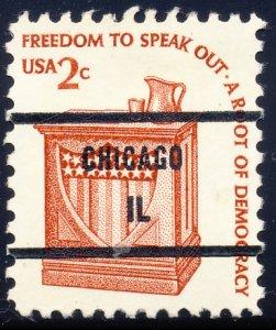 Chicago IL, 1582-81 Bureau Precancel, 2¢ Speaker's Stand