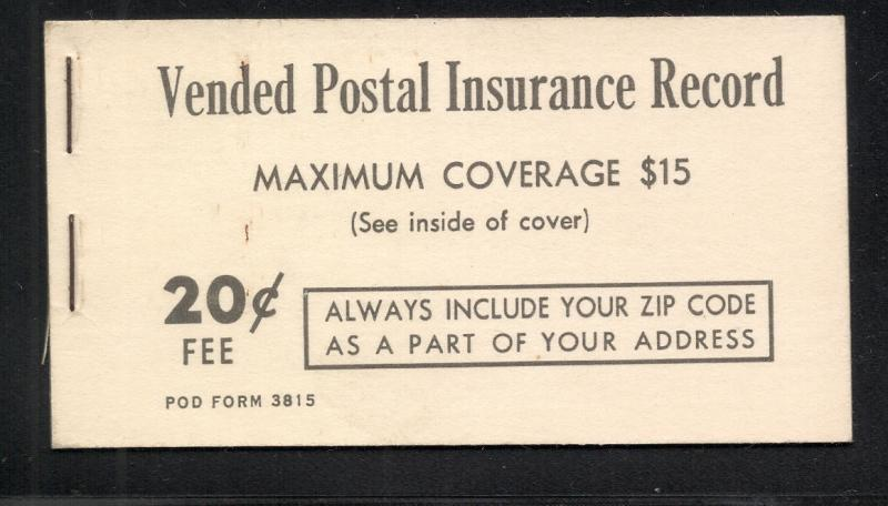 US#QI2 - Postal Insurance Booklet - Type I - Complete