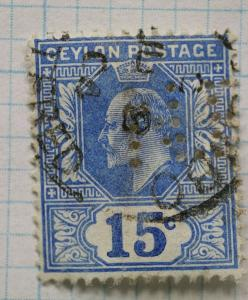 Ceylon sc#172 15c used pefin initials unknown maybe NB n.b.