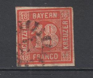 Bavaria Sc 14 used 1862 18kr vermilion red Numeral, 372 Millwheel cancel