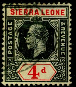 SIERRA LEONE SG117, 4d black & red/yellow, used, CDS. Cat £16.