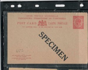 TANGANYIKA  COVER (P2908B)  KGV 15C REPLY PSC  UNUSED SPECIMEN