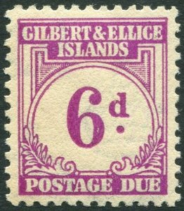 GILBERT & ELLICE ISLANDS-1940 6d Purple Postage Due Sg D6 toned gum MOUNTED MINT
