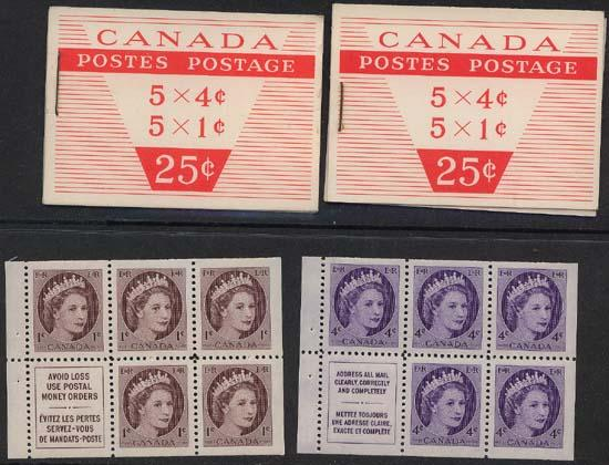 Canada - 1956 Wilding Comp. Booklets Short & Long Staple