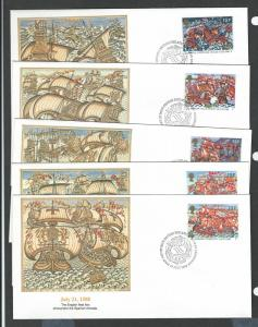 Great Britain complete set of 5 first day covers 1217 - 1221