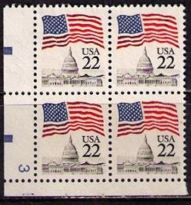 *USA Scott 2114 Plate Block (22 cents) UNC
