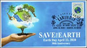 20-081, 2020, Earth Day, Pictorial Postmark, First Day Cover, Save the Earth