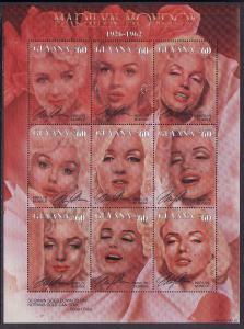 Guyana-Sc#3020-unused NH sheet-Marilyn Monroe-Movie Actress-