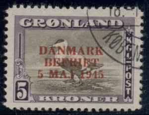 GREENLAND #27a (27v2) 5kr Eider Duck Wrong Color Ovpt, used Scott $240.00