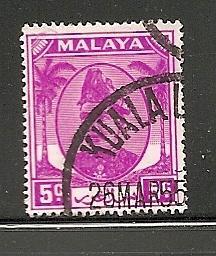 Malaya Selangor 1949 used s.c.#  95