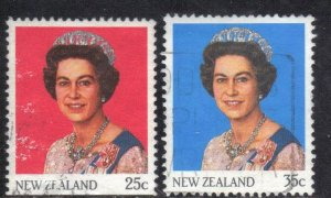 NEW ZEALAND SC# 828-29  USED*  25,35c  1985-89  QE II  SEE SCAN