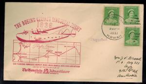 1939 Australia First Flight Cover Hawaii Boeing Clipper Honolulu Advertiser Club