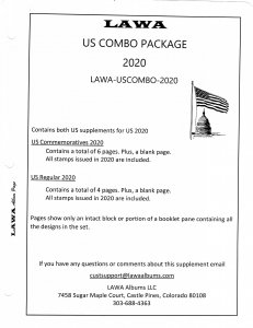2020 US COMBO Both Commemorative & Regular Issue Supplements - LAWA Album Pages